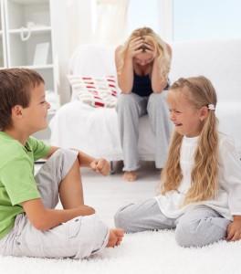 Kids having a quarrel and fight